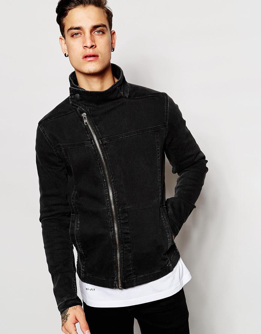 Asos Denim Jacket With Zip Fastening in Black for Men | Lyst
