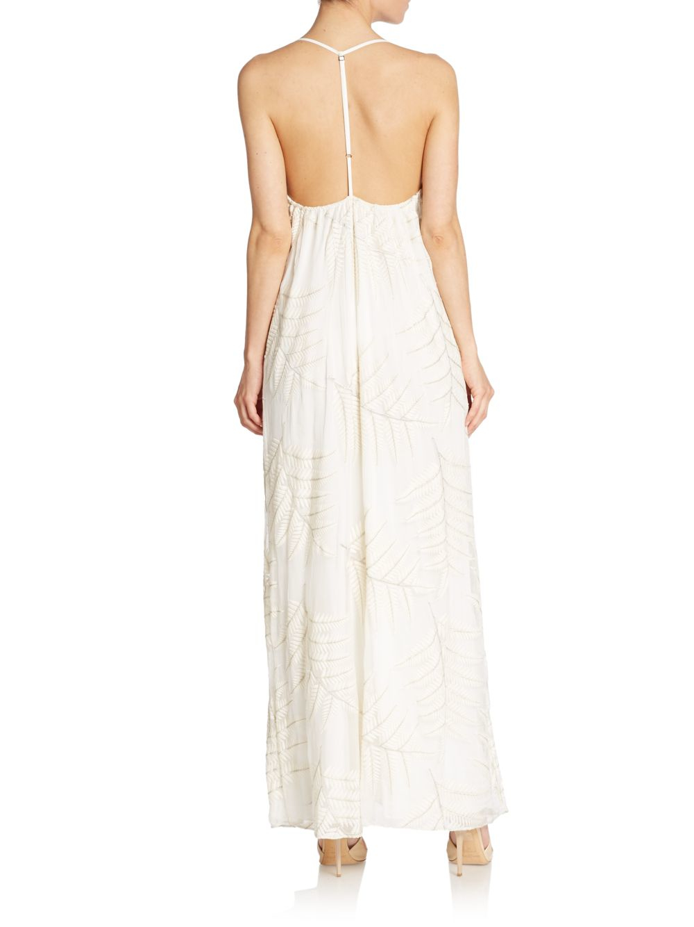 White silk chiffon maxi dress