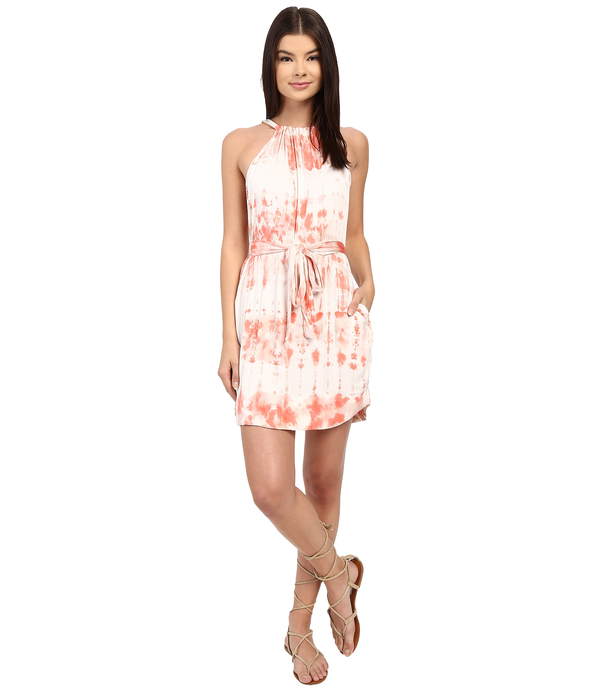05 halter mini dress with waist belt in pink lyst