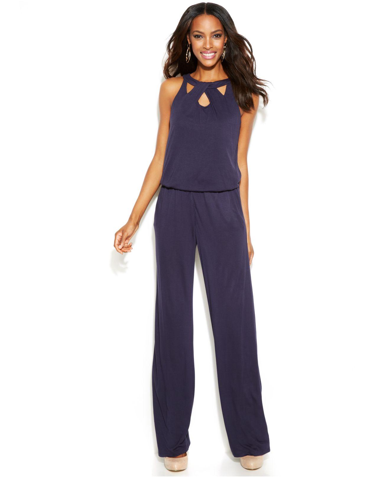 3315ceab583a Lyst - Inc International Concepts Cutout Sleeveless Jumpsuit in Purple