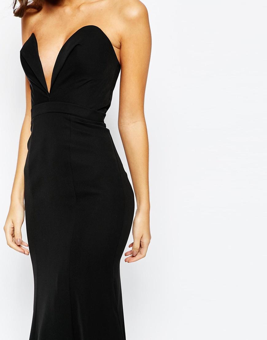Jarlo Helena Sweetheart Plunge Maxi Dress - Black in Black - Lyst