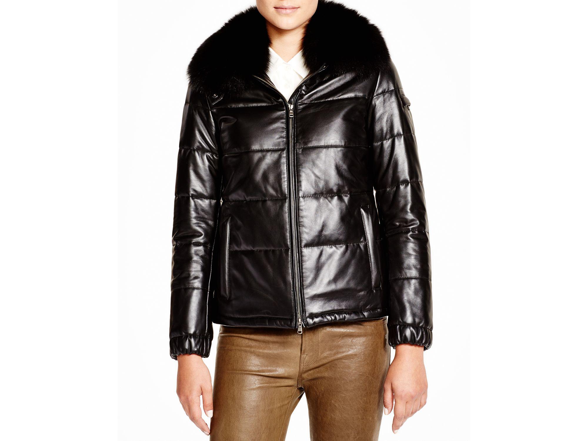 Maximilian Maximilian Leather Coat With Fox Collar In