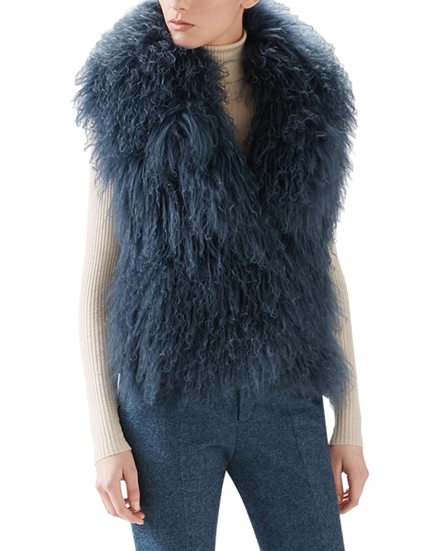 Lyst Gucci Mongolian Lamb Fur Vest In Blue