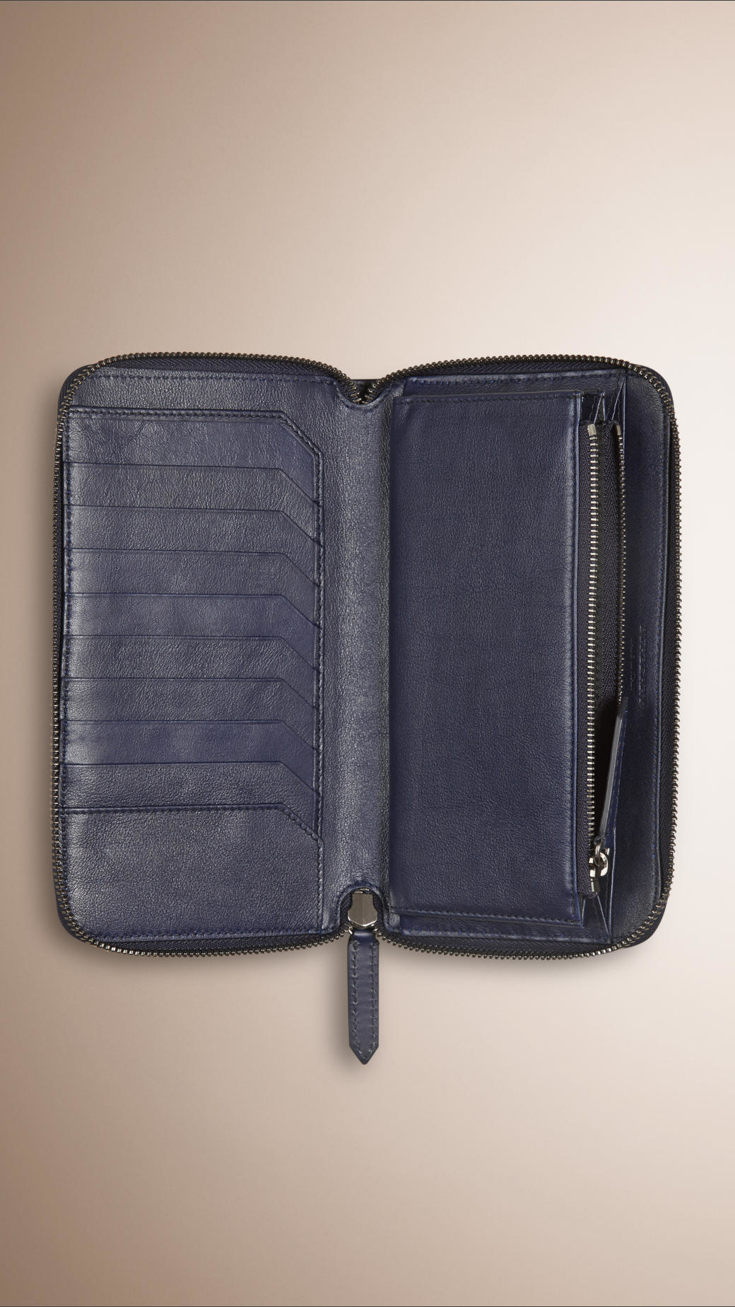11007f9cee8 Lyst - Burberry Horseferry Check Ziparound Wallet Blue Carbon in ...