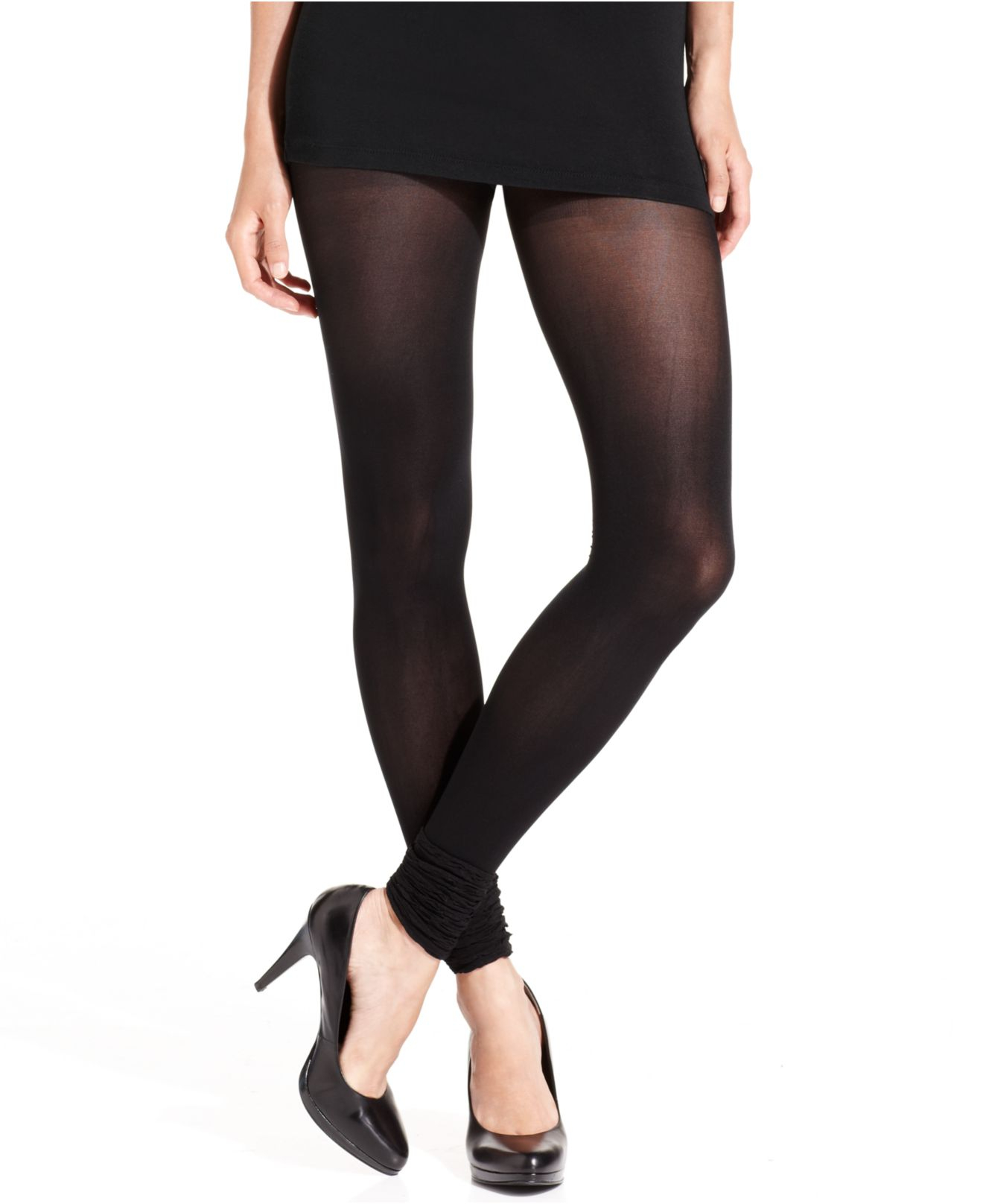 fcb6fb606 Jessica Simpson Footless Tights With Ruffles Tights in Black - Lyst