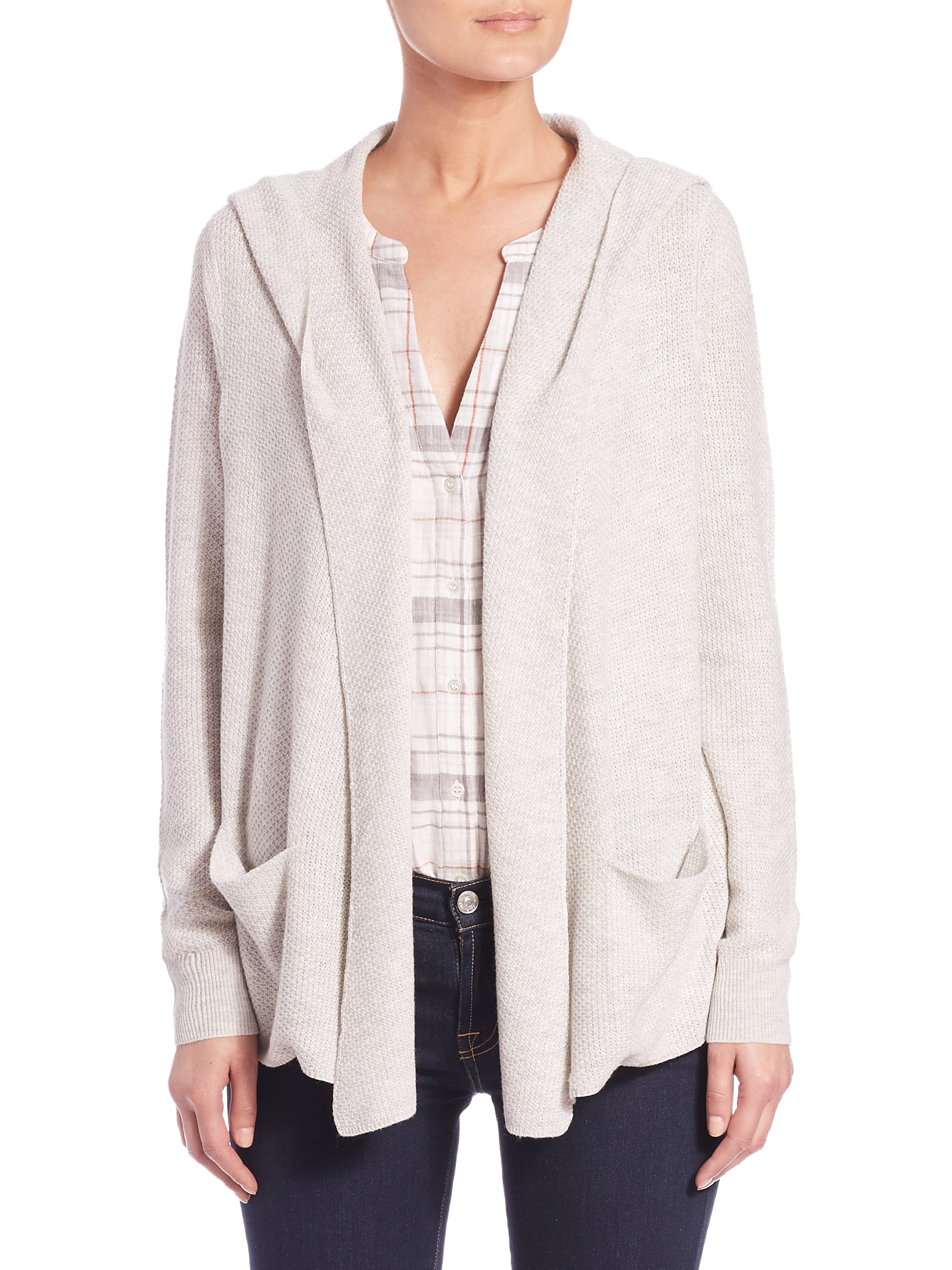 Soft joie Cary Hooded Cardigan in White | Lyst