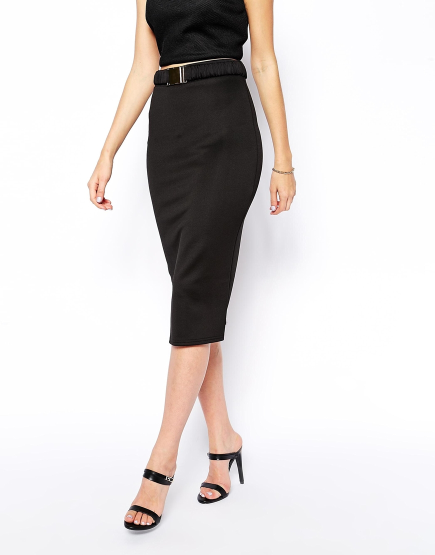 asos pencil skirt in scuba with belt in black lyst