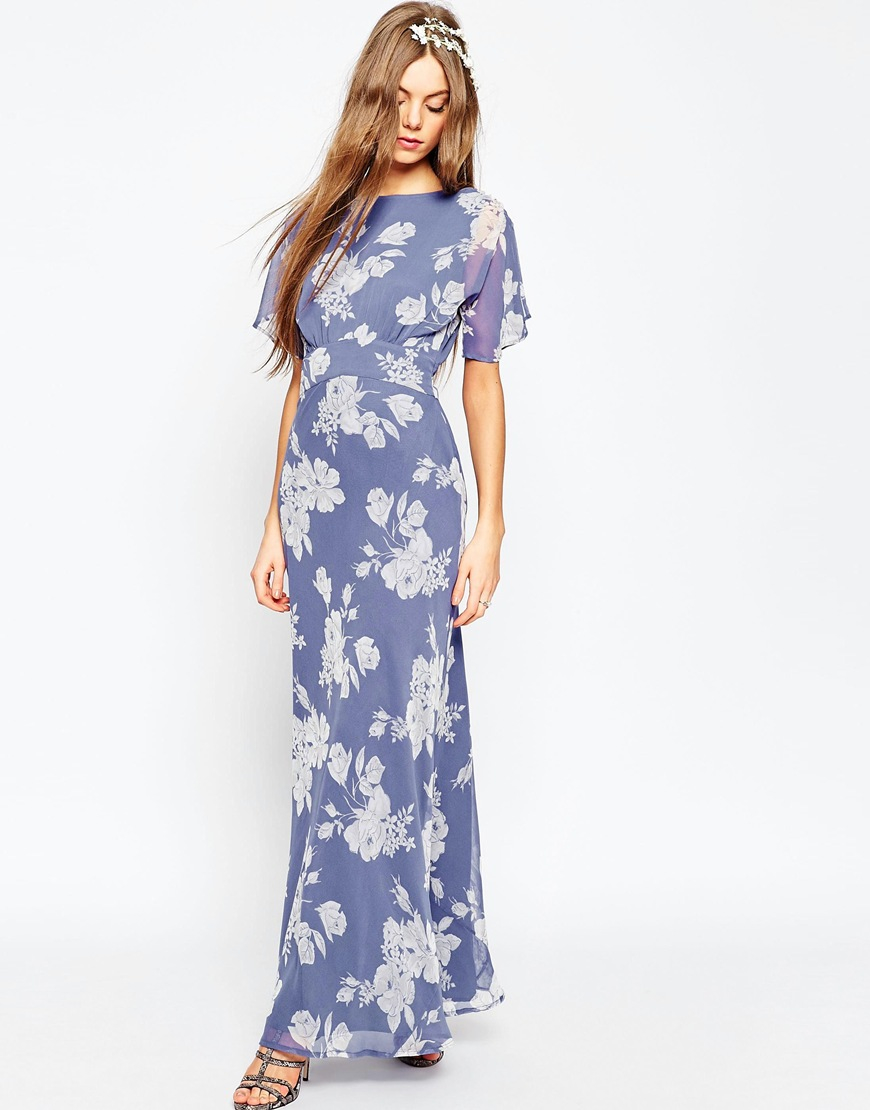 Asos wedding soft rose print maxi dress multi in blue lyst for Print maxi dress for wedding