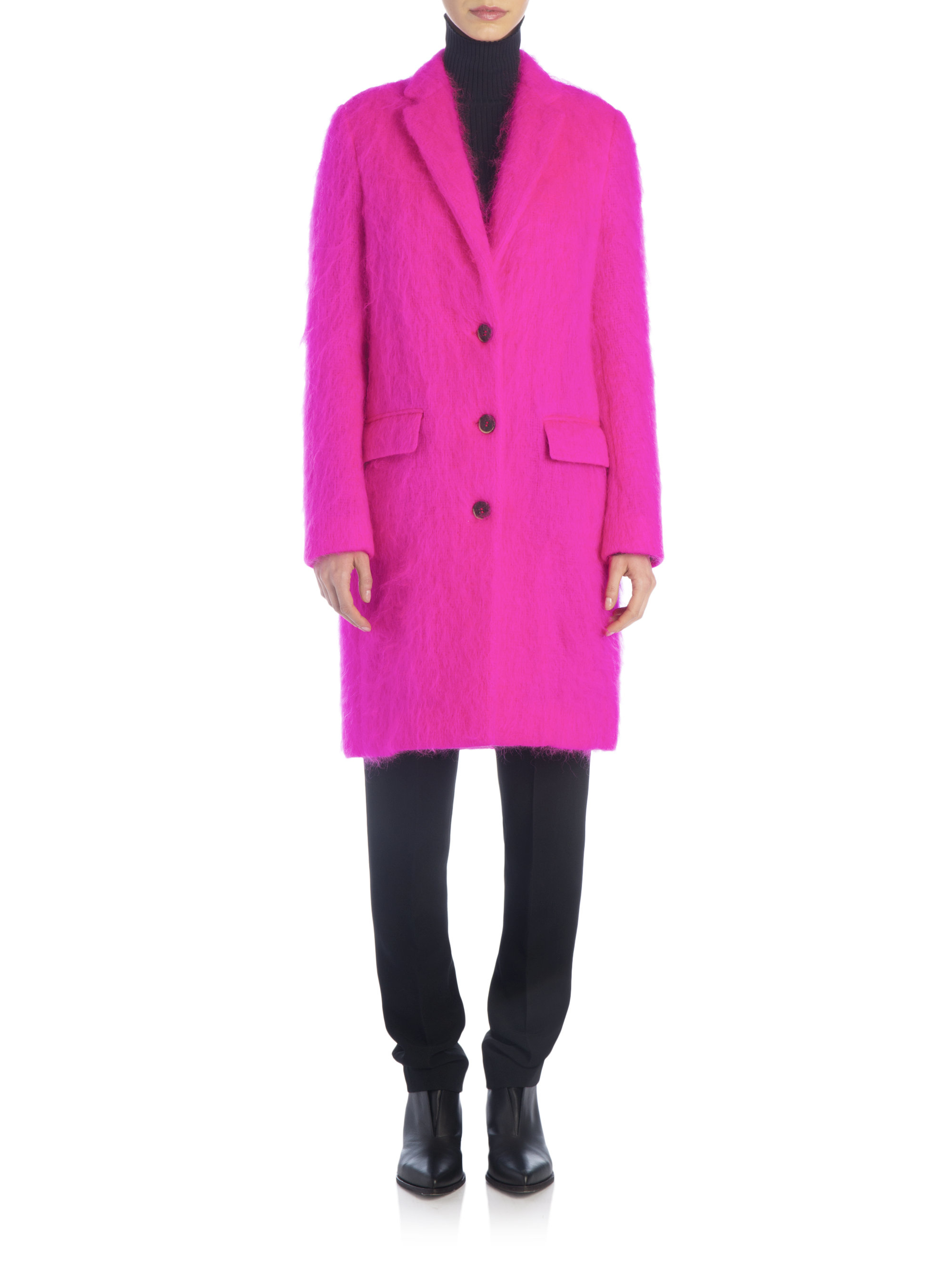 Msgm Long Mohair-blend Coat in Pink | Lyst
