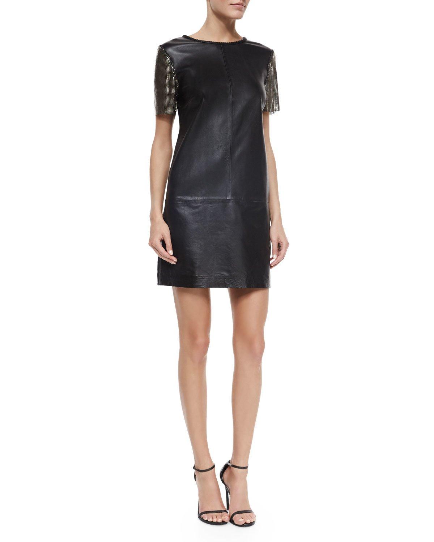 Nicole miller artelier Short-sleeve Leather Sheath Dress in Black ...