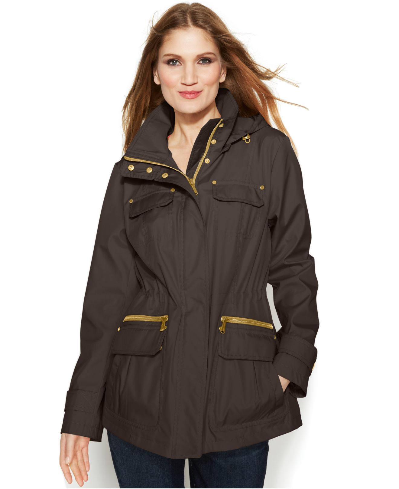 michael kors michael hooded anorak jacket in green lyst. Black Bedroom Furniture Sets. Home Design Ideas