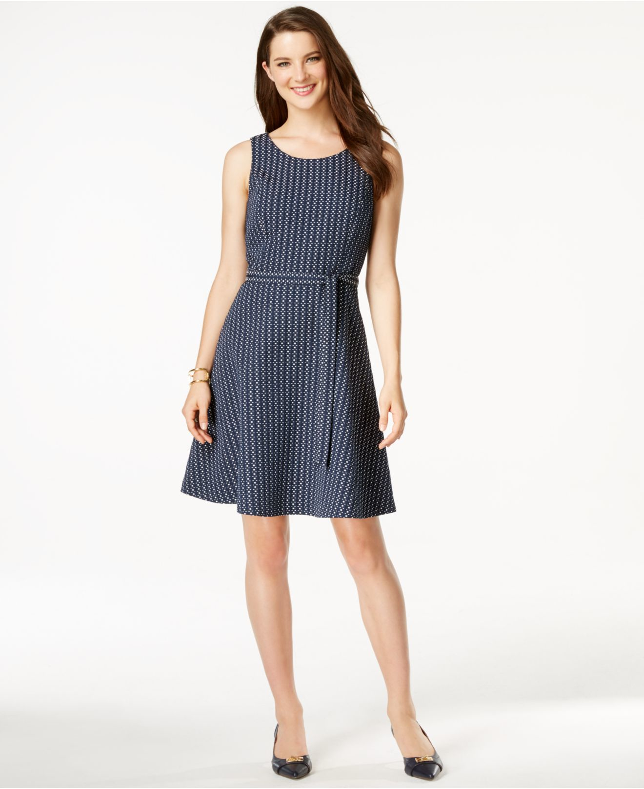 4f4f4feee1 Lyst - Tommy Hilfiger Belted Fit   Flare Dress in Blue