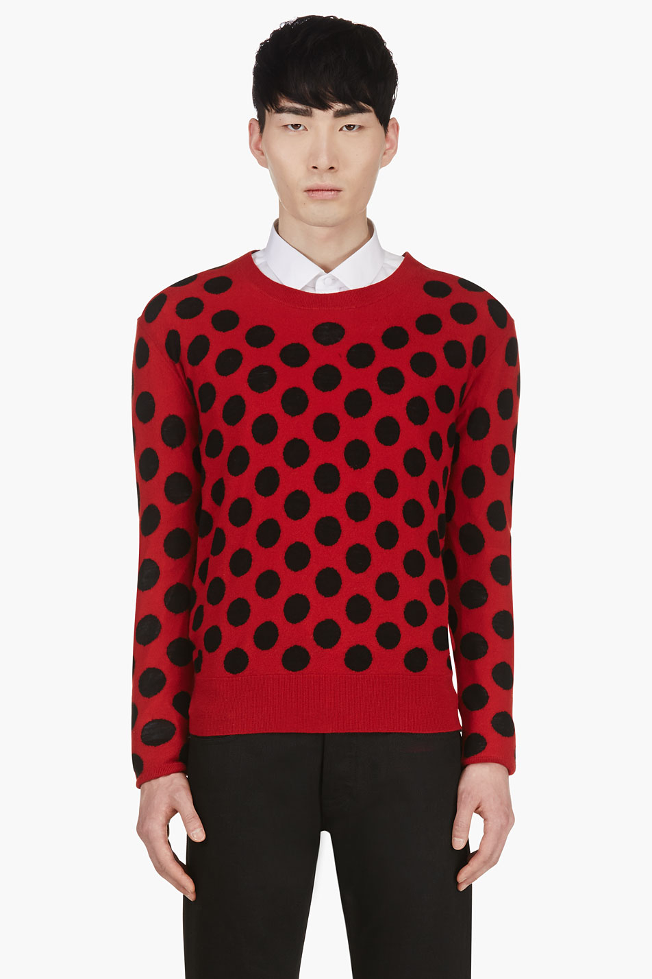 Burberry prorsum Red And Black Intarsia Polka Dot Sweater in Red ...