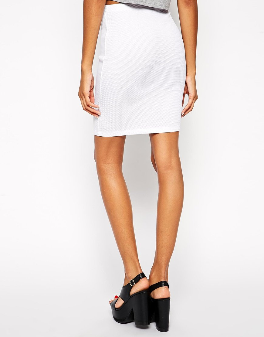 asos knee length pencil skirt in texture in white lyst