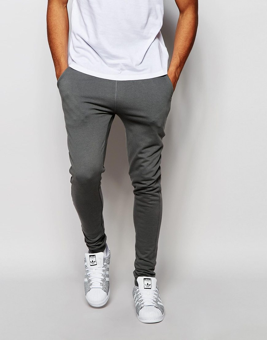 Lyst - ASOS Super Skinny Joggers In Light Gray in Green for Men 317794f78a