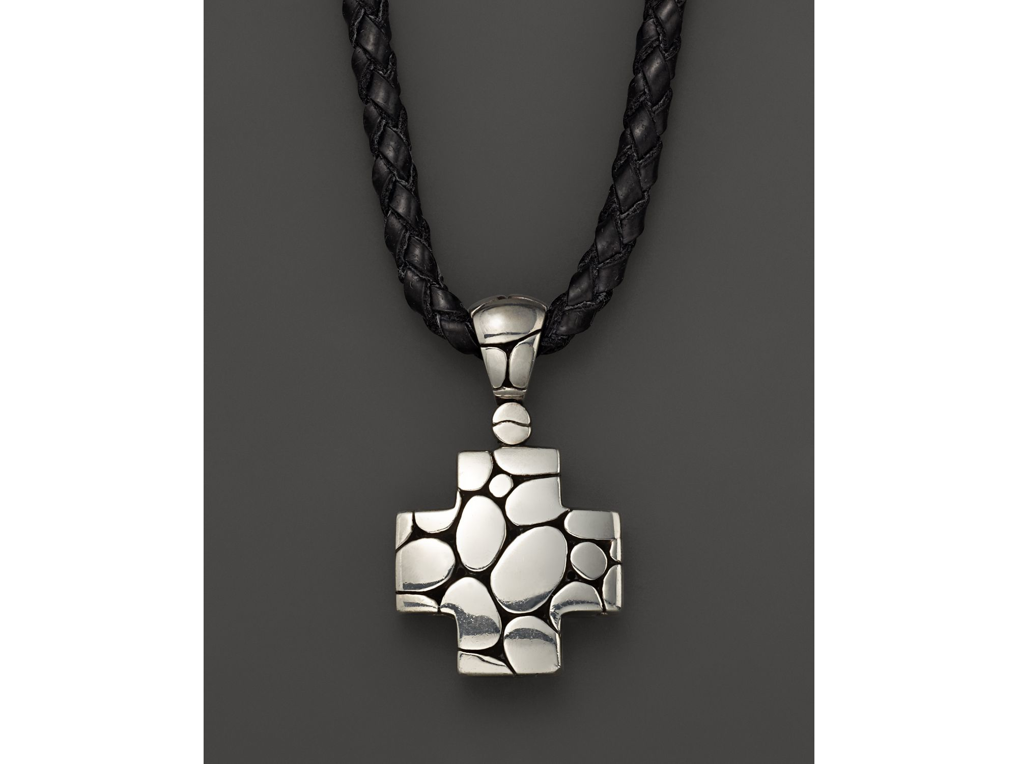 John hardy Men s Kali Silver Cross Pendant Black Leather Cord