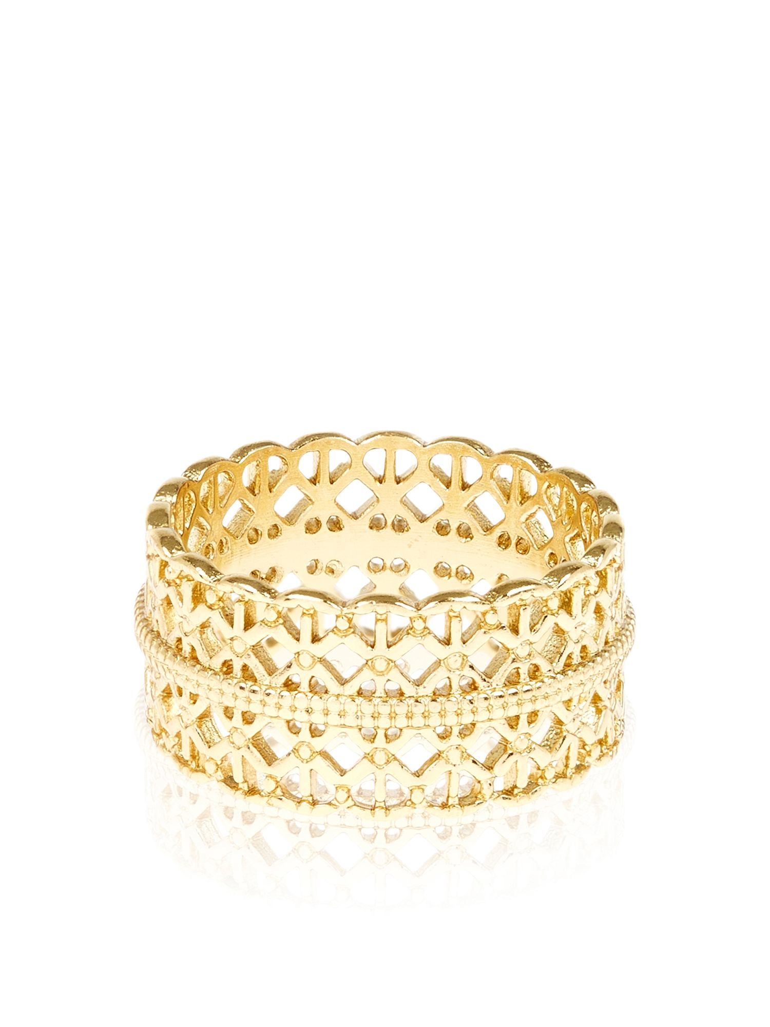 Accessorize Gold Plated Filigree Band Ring In Metallic Lyst