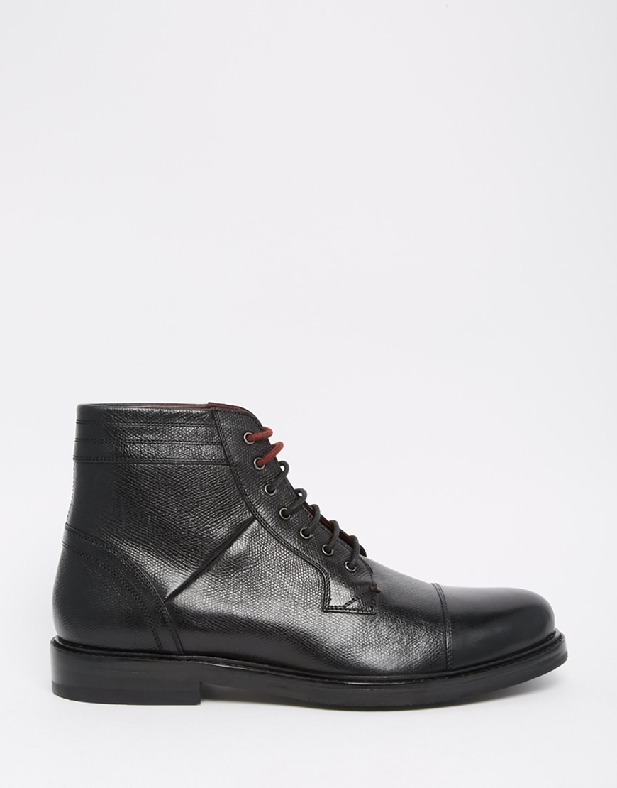 Ted baker musken lace up boots in black for men lyst for Clarks mural fresco boots