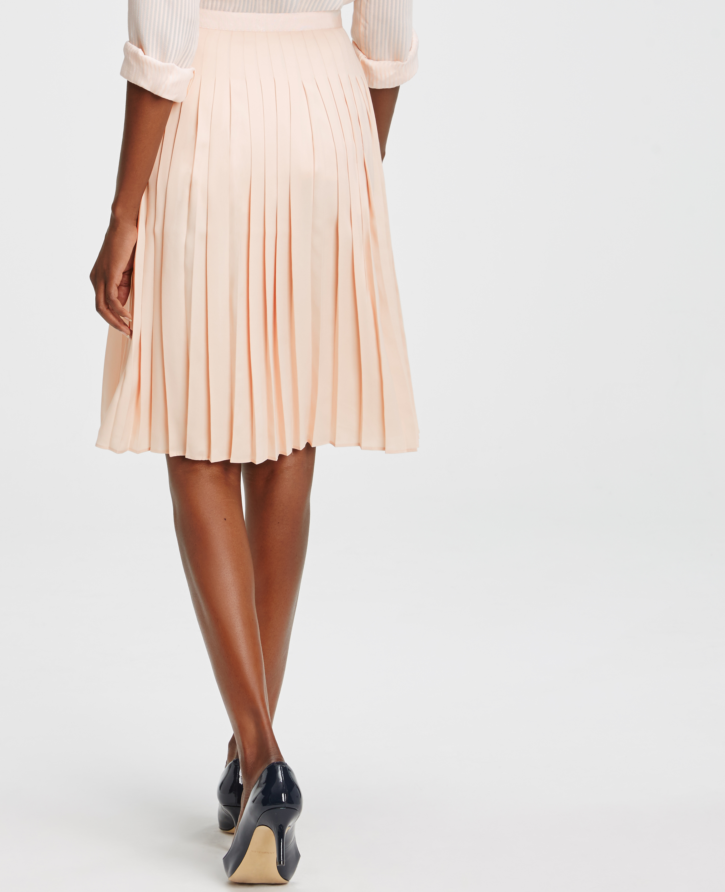 Ann taylor Petite Pleated Full Skirt in Pink | Lyst