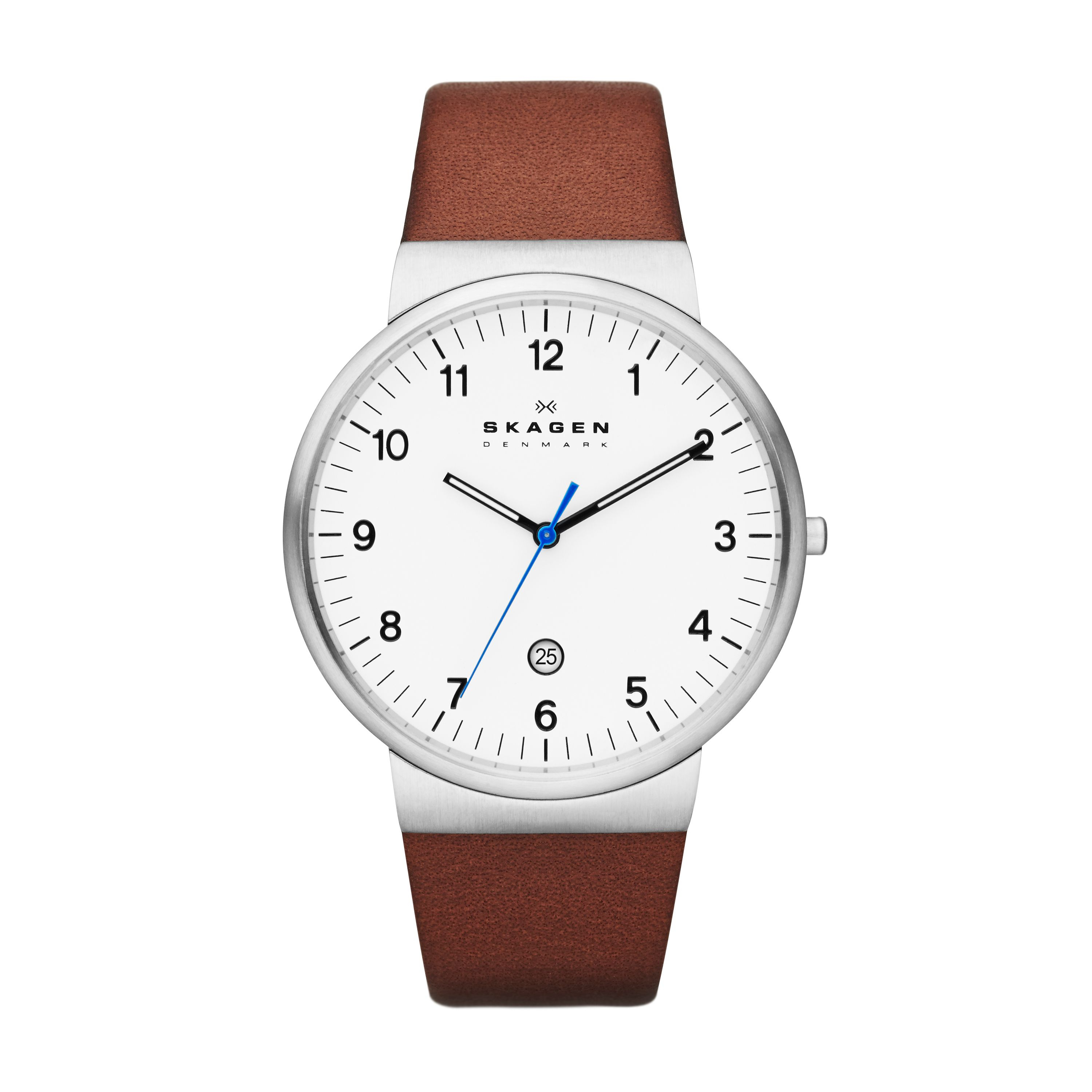 skagen skw6082 ancher leather mens in brown for