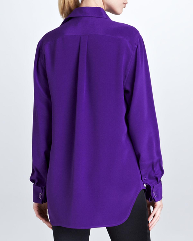 Ralph lauren black label margaret long sleeve silk shirt for Royal purple mens dress shirts