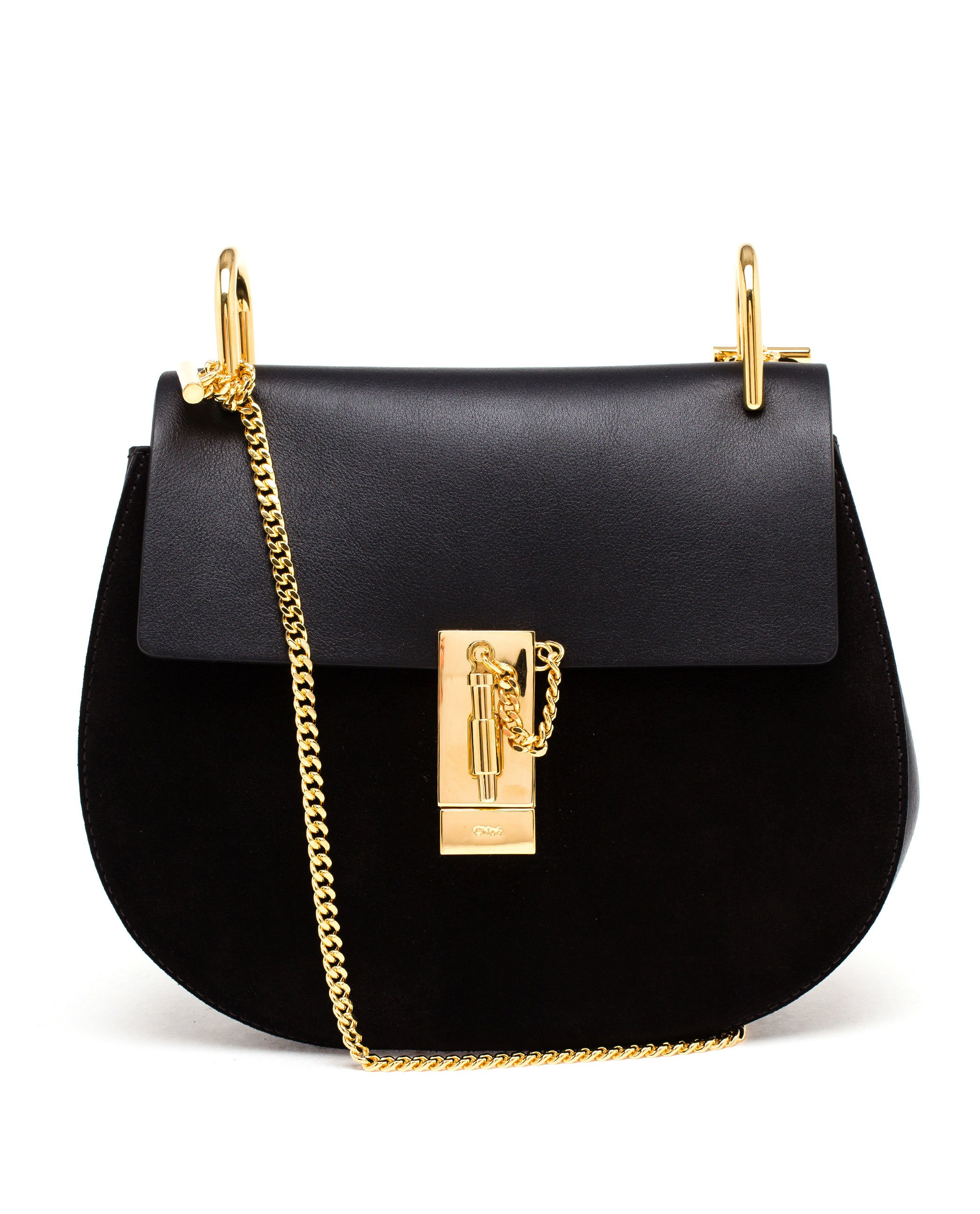 Chloé Suede And Leather Drew Bag in Black | Lyst