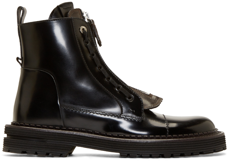 Fendi Black Leather Selleria Boots in Black for Men | Lyst