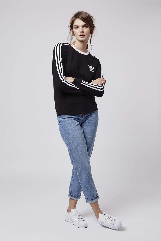 2579ac37551f Lyst - TOPSHOP Three Stripe Long Sleeve Top Adidas Originals in Black