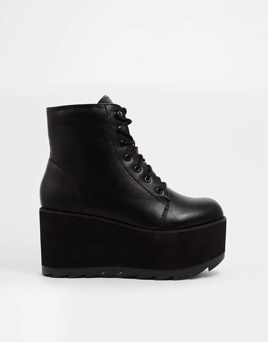 Yru Hercules Black Flatform Ankle Boots In Black Lyst