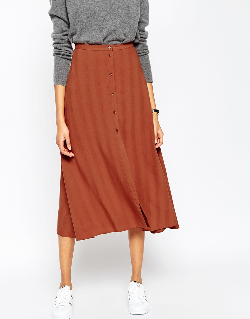 Asos Midi Skirt With Button Through In Self Stripe In