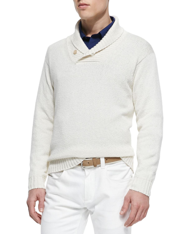 Loro piana Shawl-collar Pullover Sweater in White for Men | Lyst
