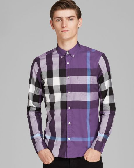 Burberry brit fred sport shirt slim fit in purple for men for Royal purple mens dress shirts