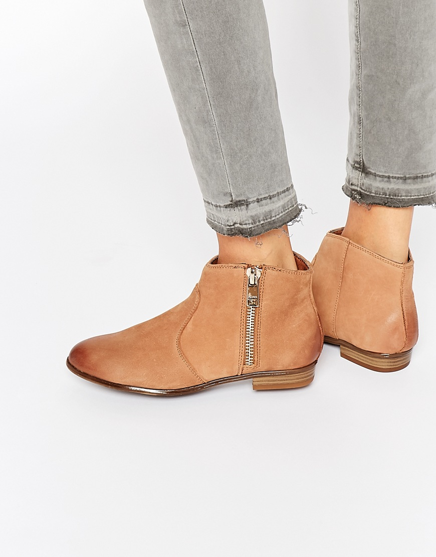 bcce922d49b4 Lyst - ALDO Ldo Alissonn Leather Camel Flat Boots in Brown