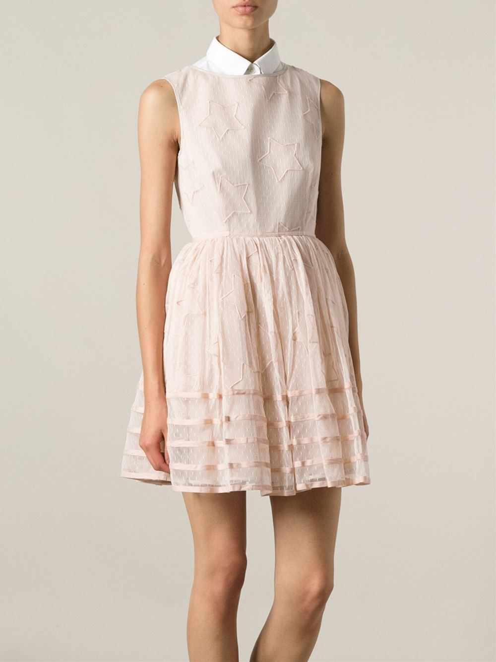 108a206518128 RED Valentino Star Embroidered Lace Dress in Pink - Lyst