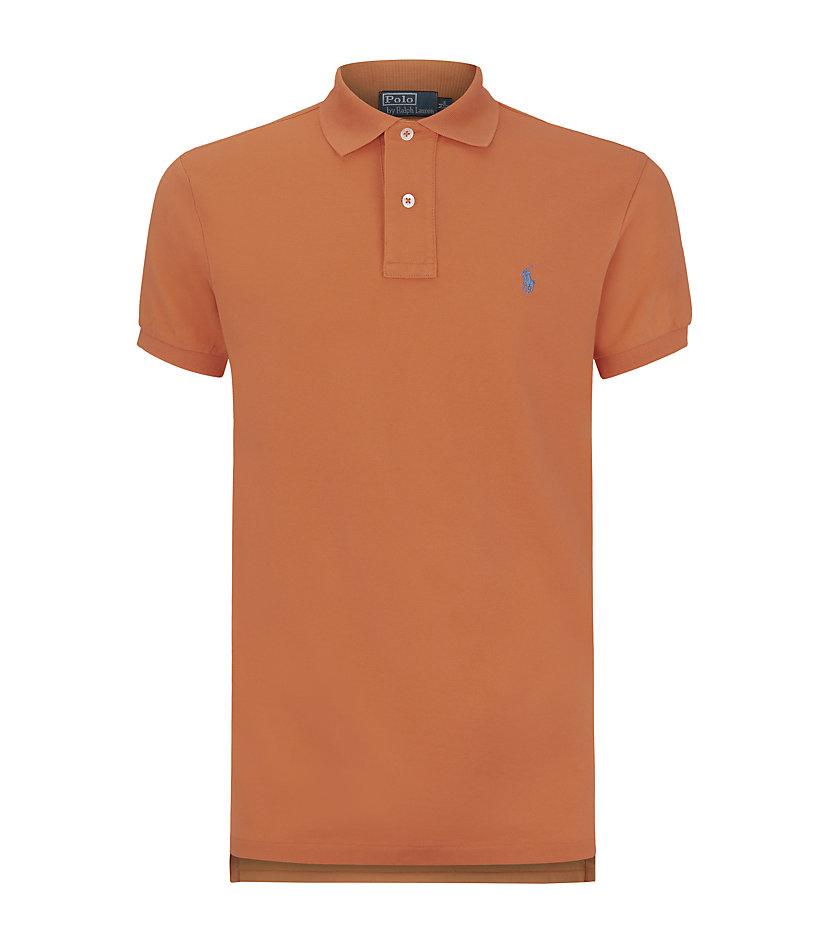 Polo ralph lauren custom fit polo shirt in orange for men for Polo ralph lauren custom fit polo shirt