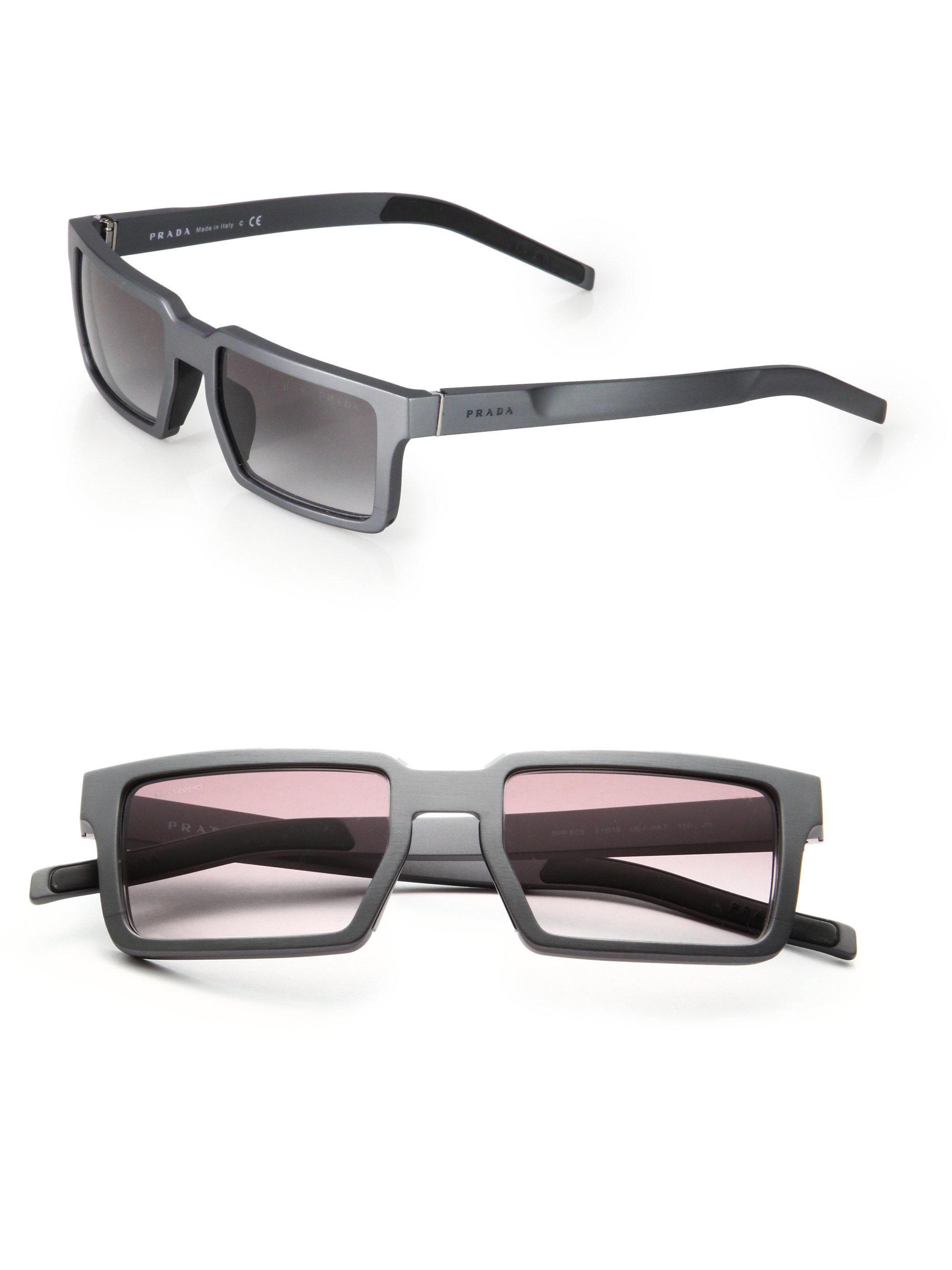 a322fb34d944 ... discount code for lyst prada 51mm rectangle aluminum sunglasses in gray  for men 5d74e a457e
