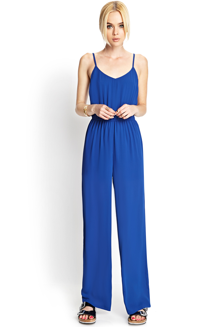 d780a67305ac Lyst - Forever 21 Wide-leg Chiffon Jumpsuit In Blue