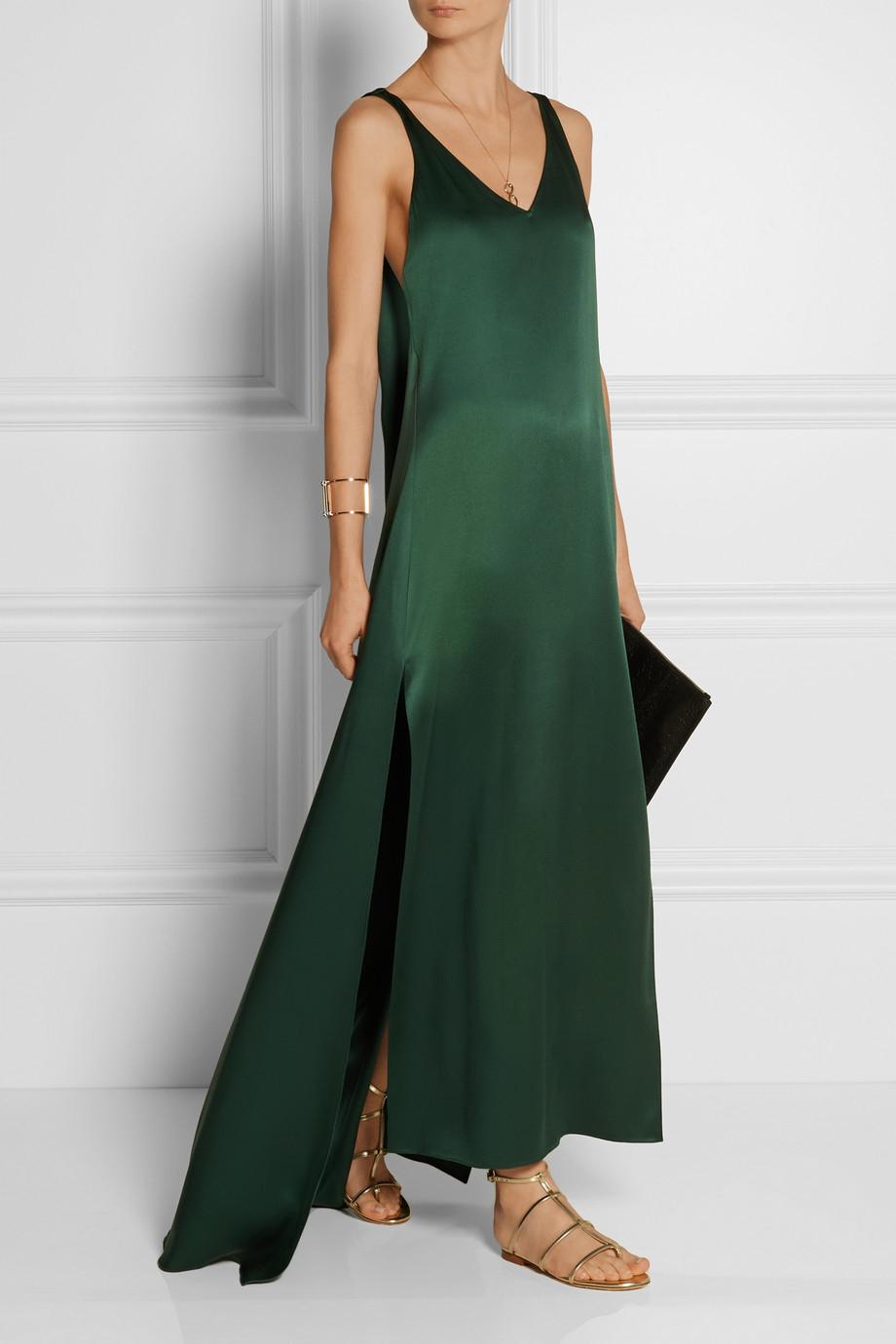 Lyst Rosetta Getty Silk Dress In Green