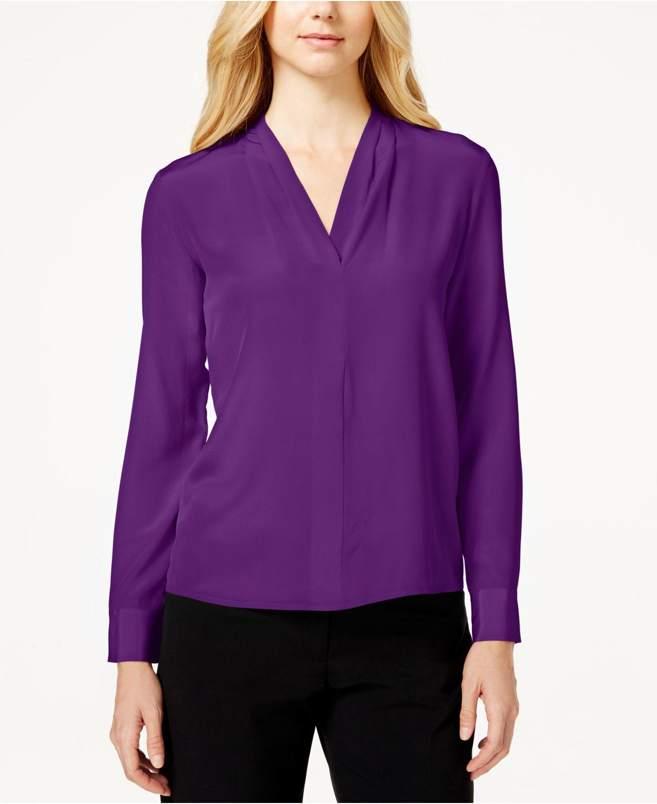 lyst calvin klein silk long sleeve blouse in purple