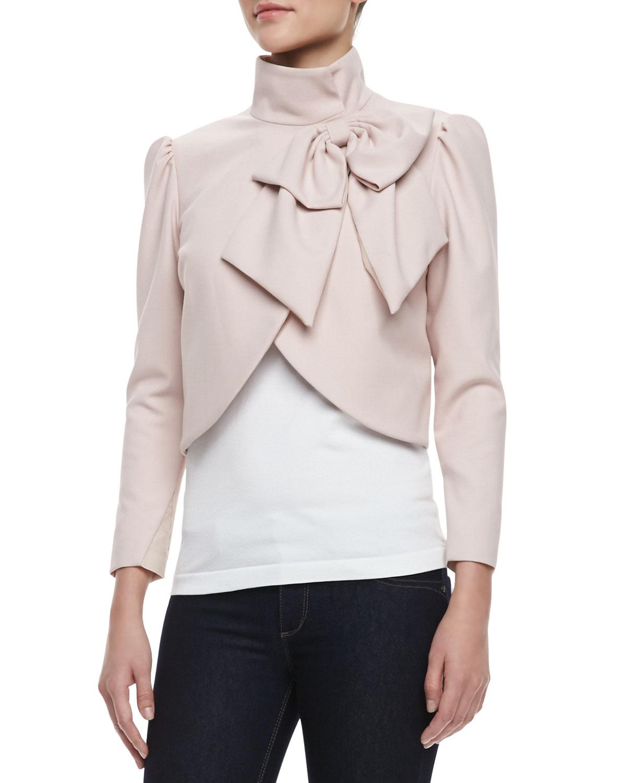 Alice   olivia Addison Bow Cropped Jacket Pink Alice Olivia in ...