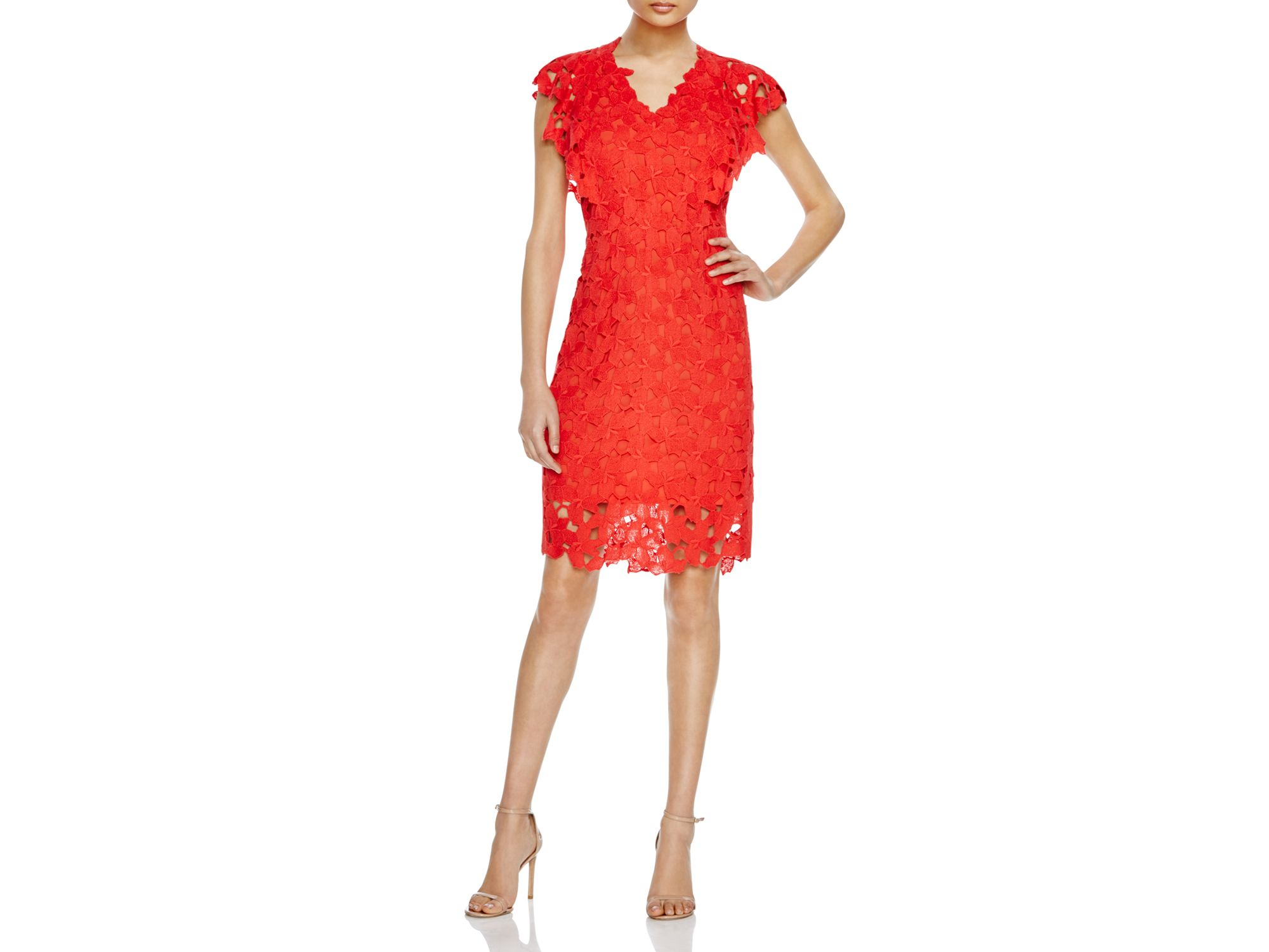 7e22a888f53 Elie Tahari Morgen Floral Lace Dress in Red - Lyst