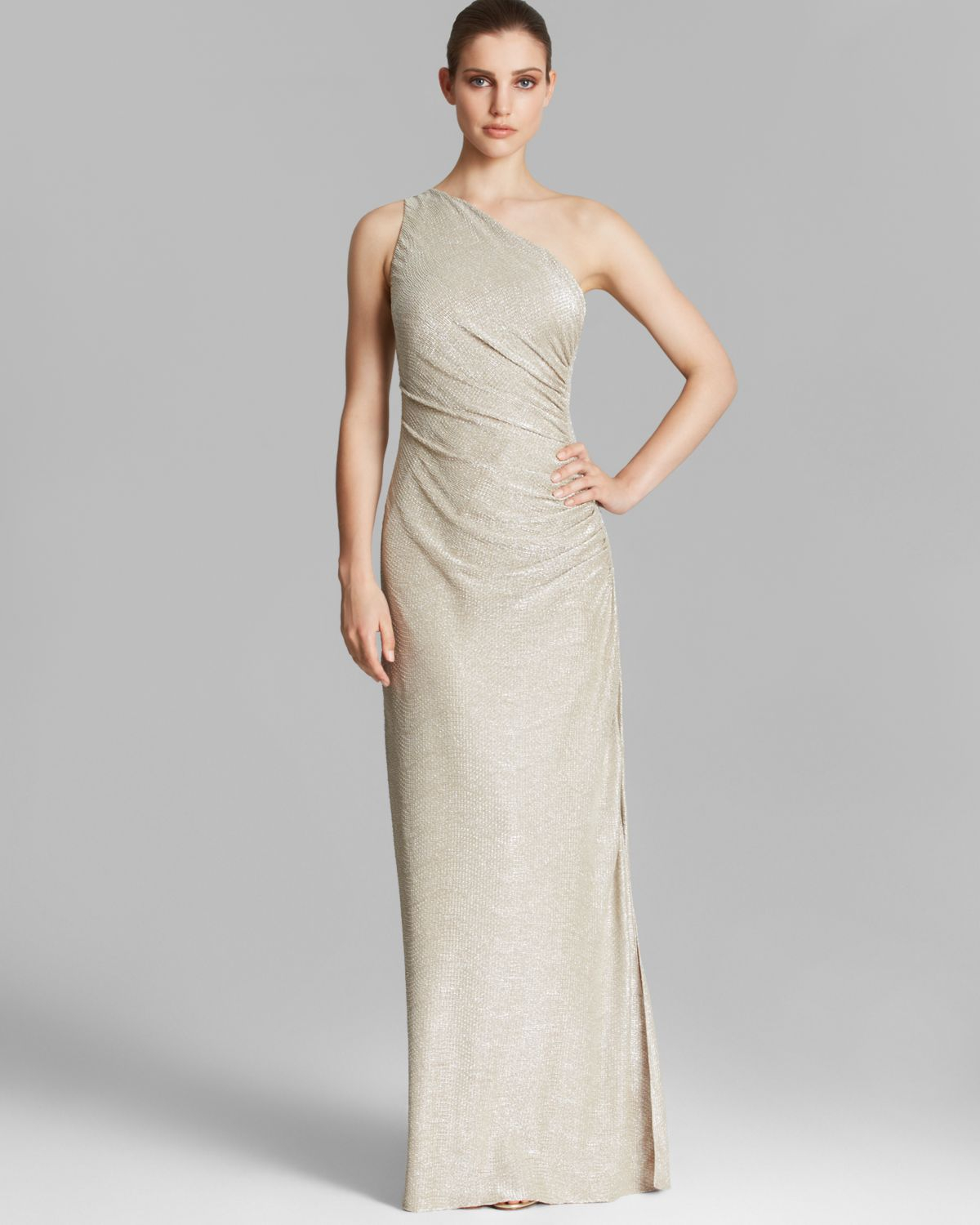 670a8438ad682 Lyst - Laundry by Shelli Segal Gown - One Shoulder Metallic Knit ...