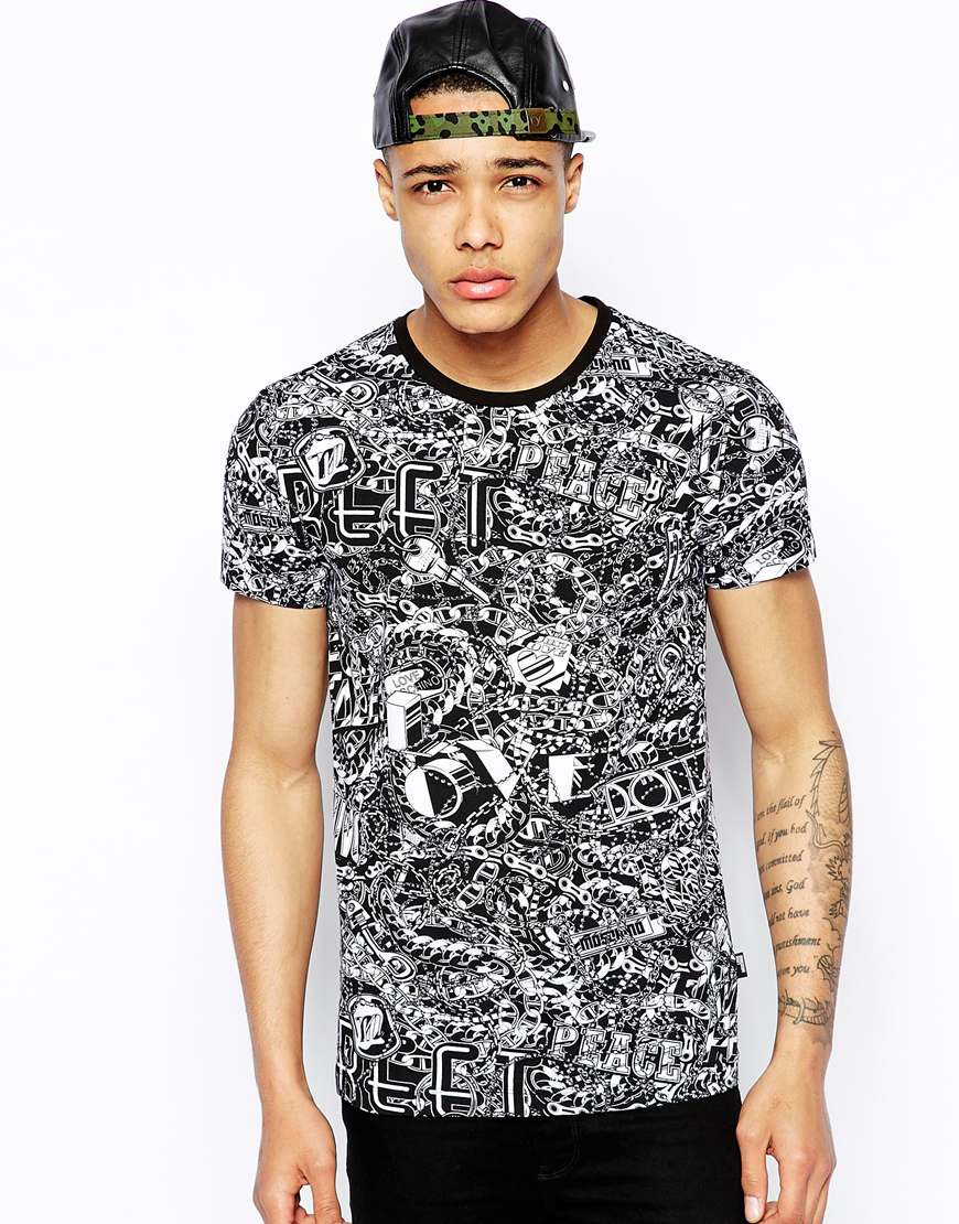 love moschino t shirt in black for men lyst. Black Bedroom Furniture Sets. Home Design Ideas
