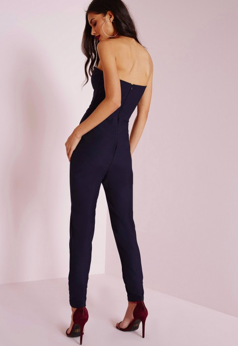 785ad93ea8a2 Lyst - Missguided Sweetheart Neckline Bandeau Jumpsuit Navy in Blue