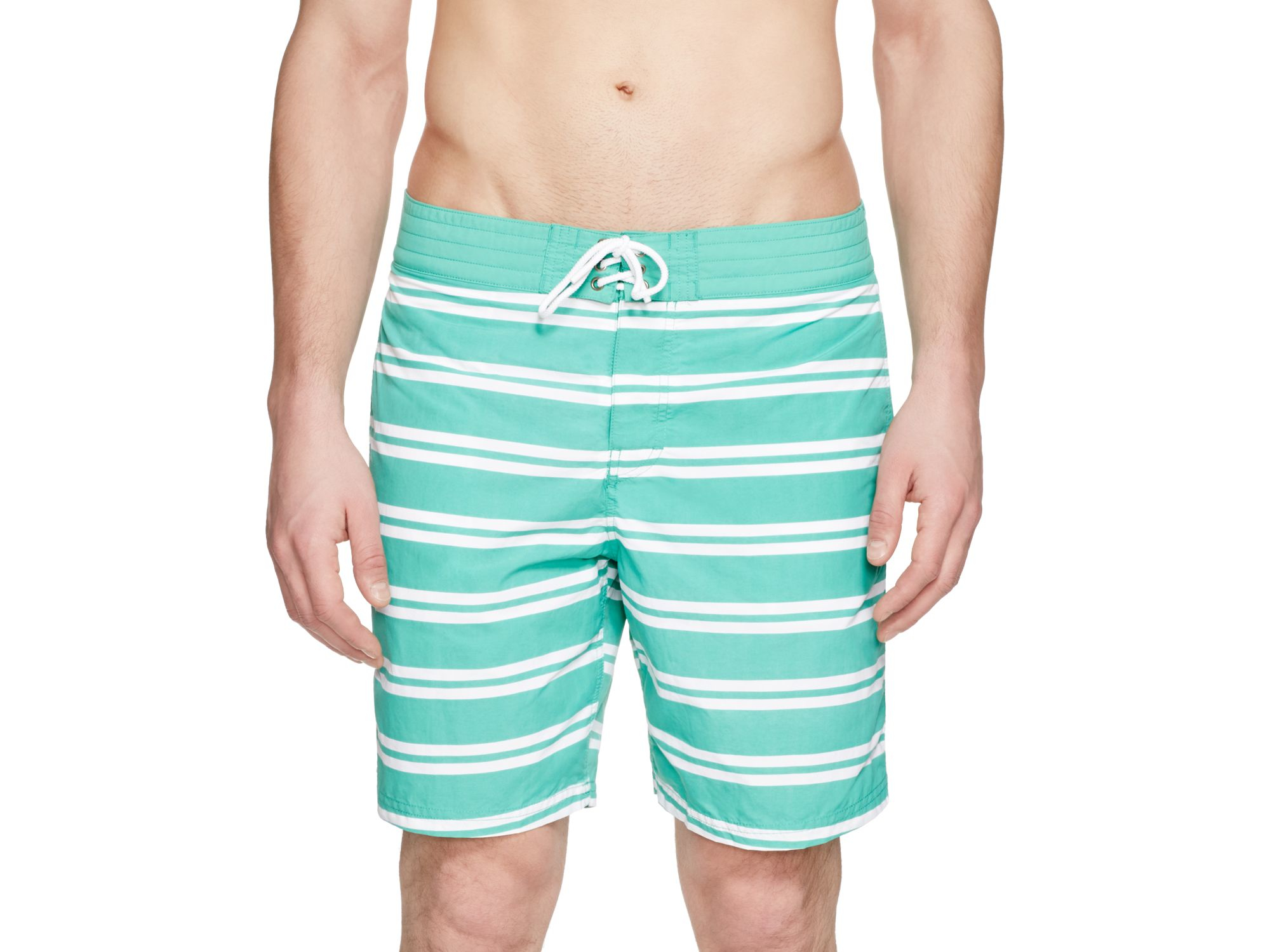 dbc2614ac2 Lacoste Double Striped Swim Trunks in White for Men - Lyst