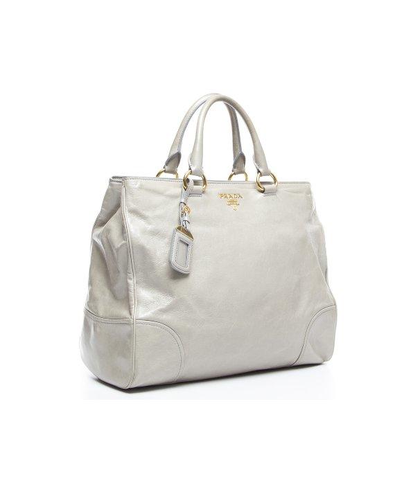 Prada Pre-owned Gray Vitello Daino Tote Bag in Gray (grey) | Lyst - prada galleria bag marble gray + white + baltic blue