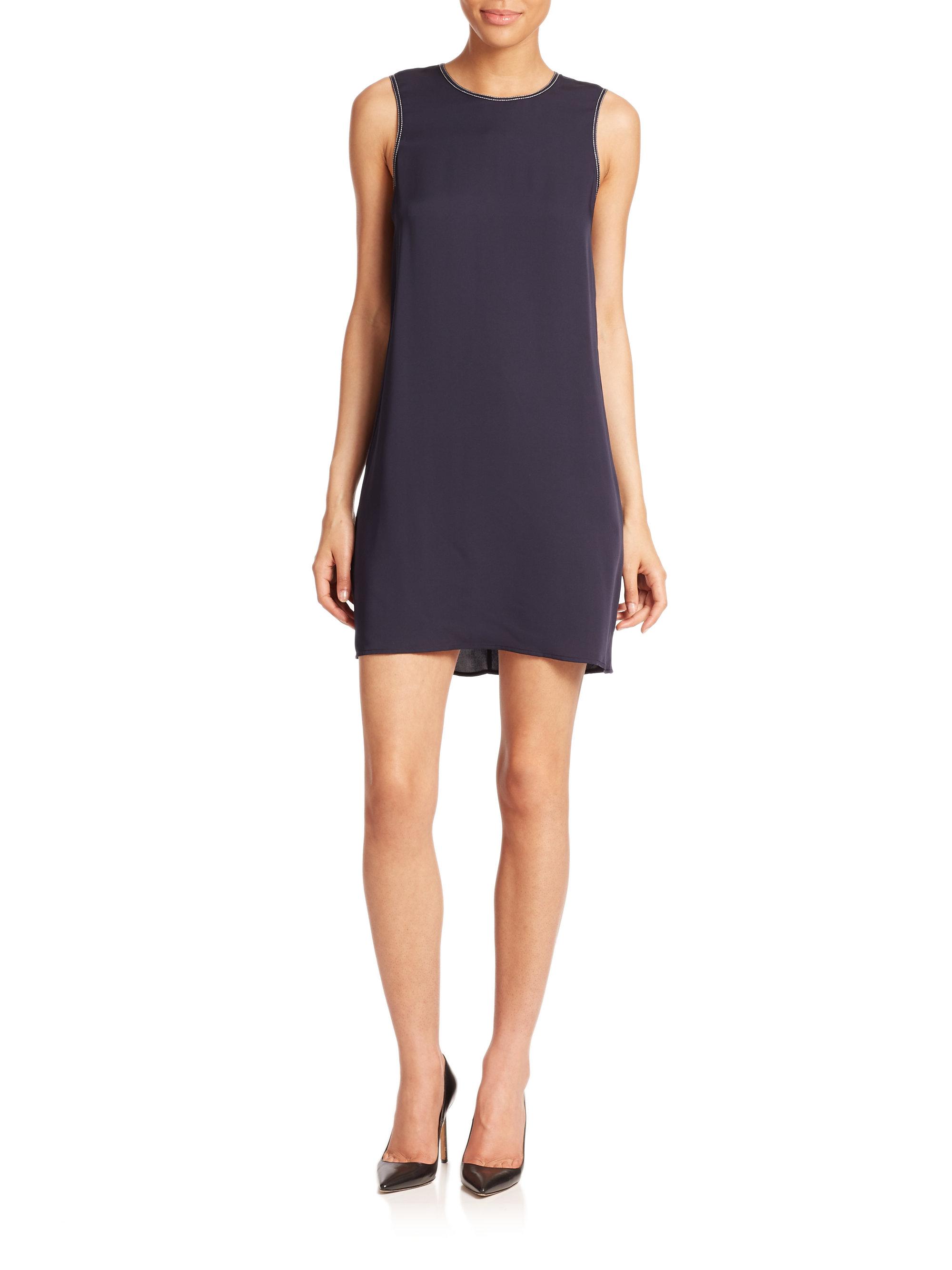 fc5240daad1 Theory Brindina Sleeveless Silk Georgette Dress in Blue - Lyst