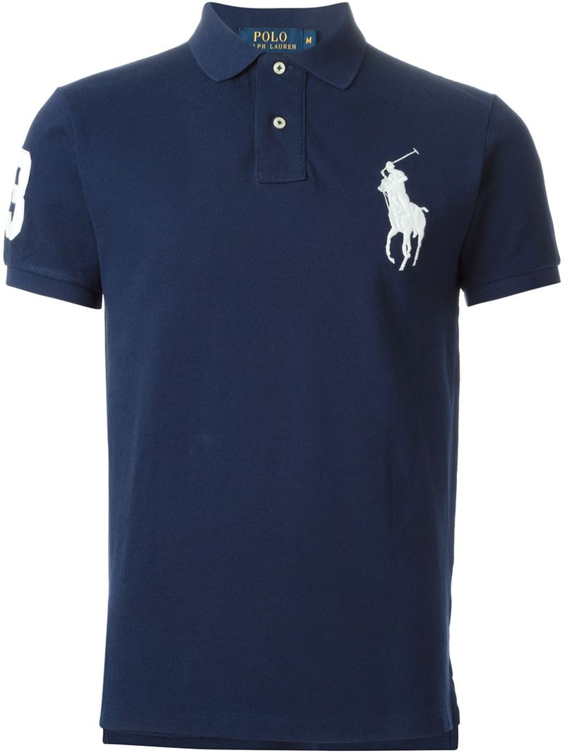 lyst polo ralph lauren logo cotton polo shirt in blue