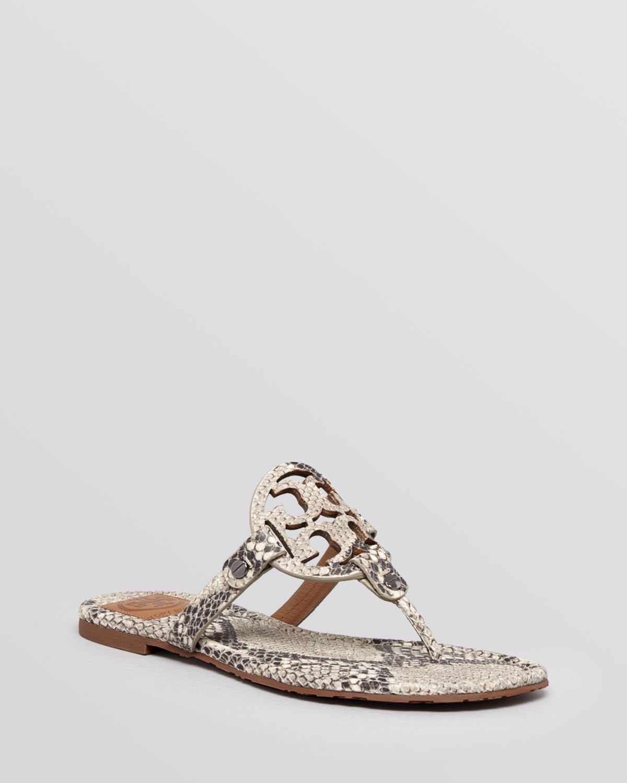 2c02880a424ec3 Lyst - Tory Burch Flat Sandals Miller Roccia Snake Print in Natural