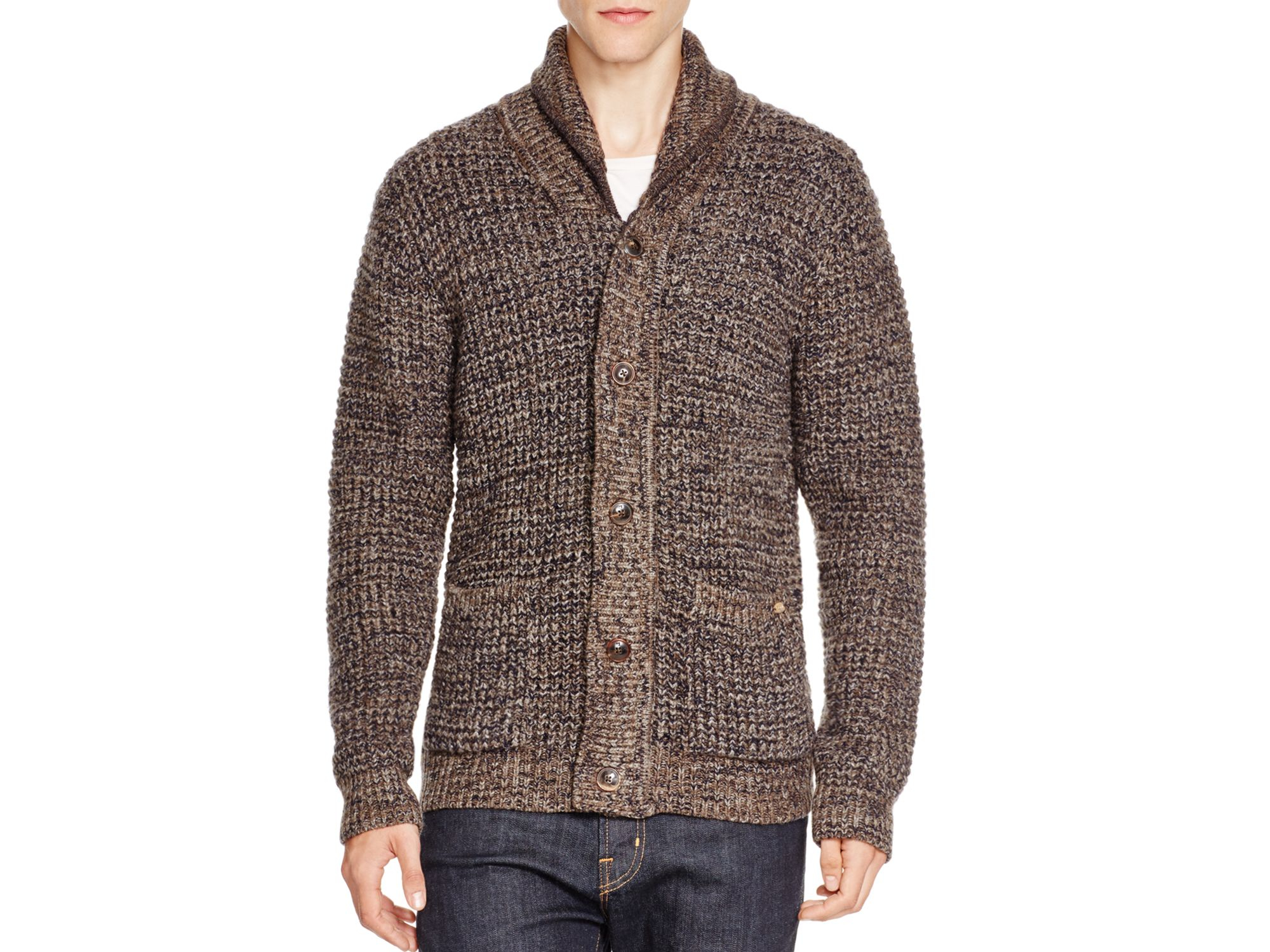 Scotch & soda Chunky Knit Cardigan in Brown for Men | Lyst